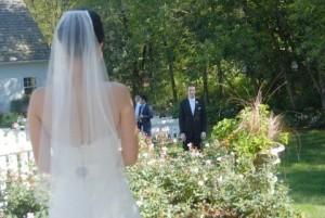 Barn wedding bride and groom