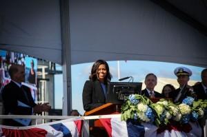Michelle Obama at USS Illinois2